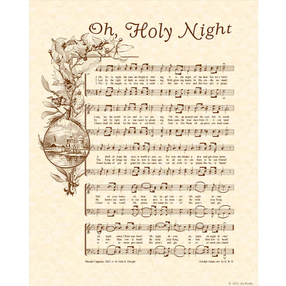 Sheet Music And Lyrics To Joy To The World: OH HOLY NIGHT 8x10 Antique Hymn Art Print By VintageVerses