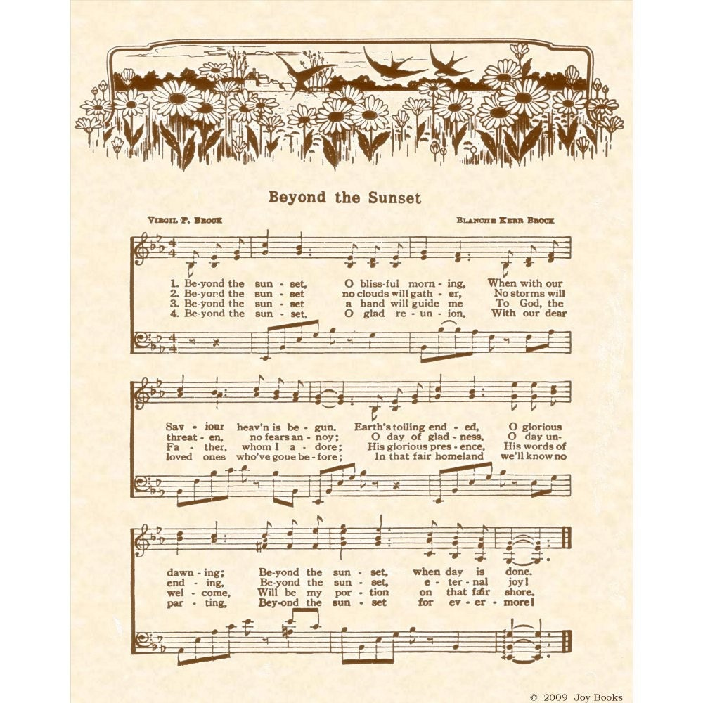 Items Similar To Beyond The Sunset 8 X 10 Antique Hymn