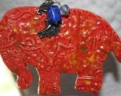 Ceramic Ornament-Bright Orange Elephant