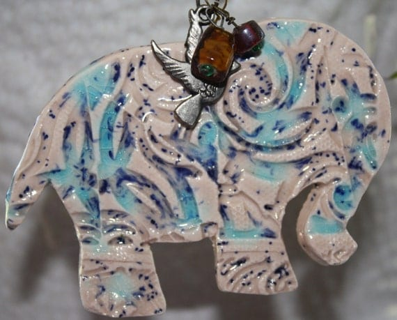 Ceramic Ornament-Pink with Light Blue Speckles Elephant