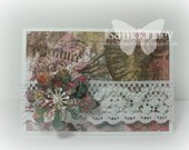 Flowers and Lace Gift Card-- handmade