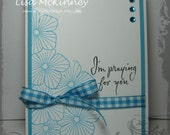 Turquoise Praying for You-- Handstamped card
