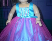 """American Girl 18"""" Doll Clothes - Raspberry and Turquoise Prom Dress"""