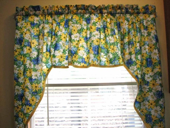 Kitchen Window Swag Curtain Blue White And Yellow Daisy Print