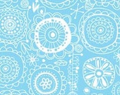 SALE - 1 Yard - Spring Street by Carolyn Gavin - Sketchbook Flowers in Blue