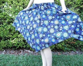 blue and yellow cotton nautical STARS pointy skirt with 2 inside POCKETS