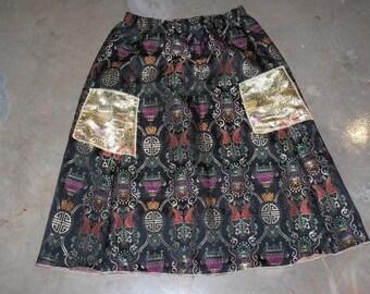 long black fish brocade contrast cargo pocket skirt