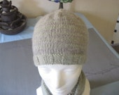 Organic Wool Hat striped pale green grey stripes