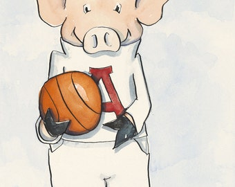 "Arkansas Razorback Basketball ""Piggie"" - 9x12"" Watercolor Fine Art Print"