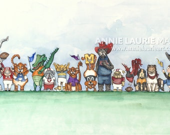 "SEC Mascots - College Football Painting - 10x20"" Watercolor Fine Art Print"