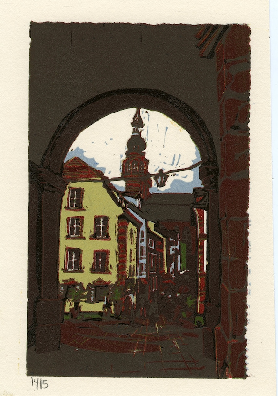 "Gllimpse of Germany  - 4.25x6.5""  - Original, Limited Edition Linocut"