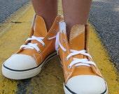 Halloween  Orange Caution high top kids sneakers, size 11 OOAK