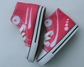 Deep Pink size 9 toddler canvas sneakers OOAK