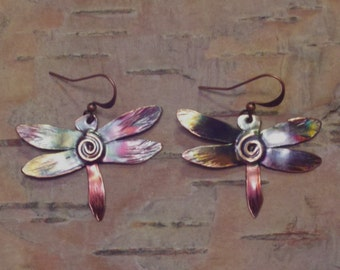 Handcrafted Copper Dragonfly Earrings