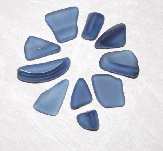 Denim Blue faux sea glass - 10 pieces