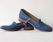 distressed denim loafers by Dieppa Restrepo . size 6 stacked wood heels