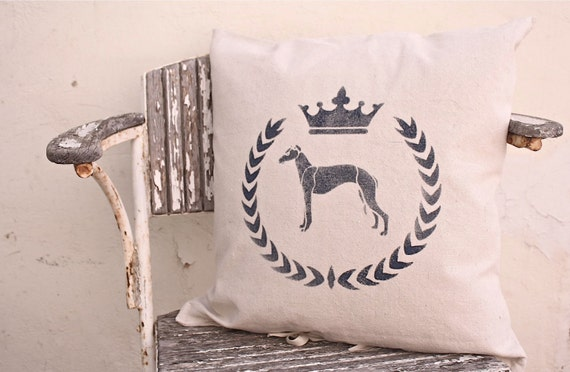 greyhound dog & crown pillow . stenciled down filled