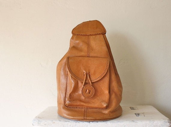 vintage tan leather backpack tote