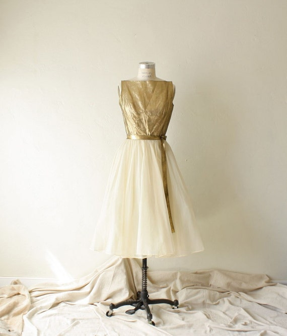 60s gold metallic chiffon cocktail dress