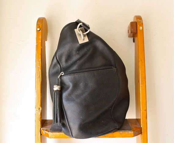 black leather cross body bucket bag