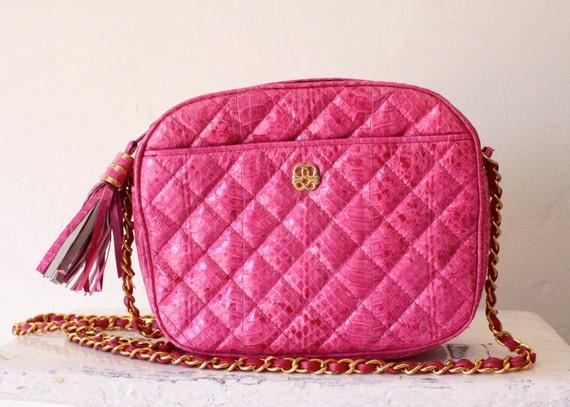 hot pink snakeskin quilted cross body bag by mary ann rosenfeld