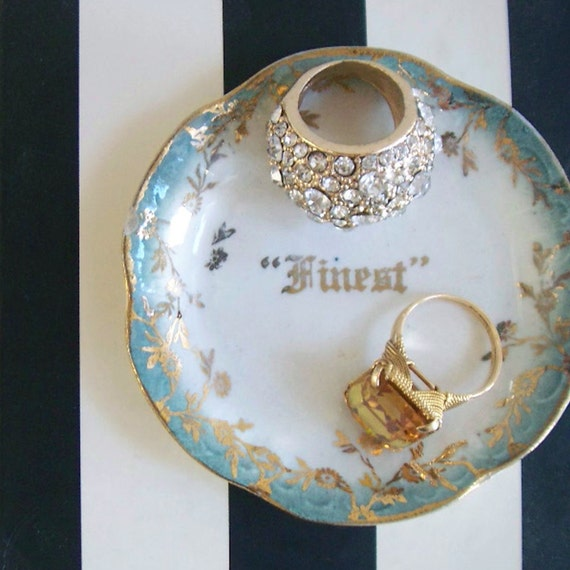 Finest tiny blue gold vintage dish