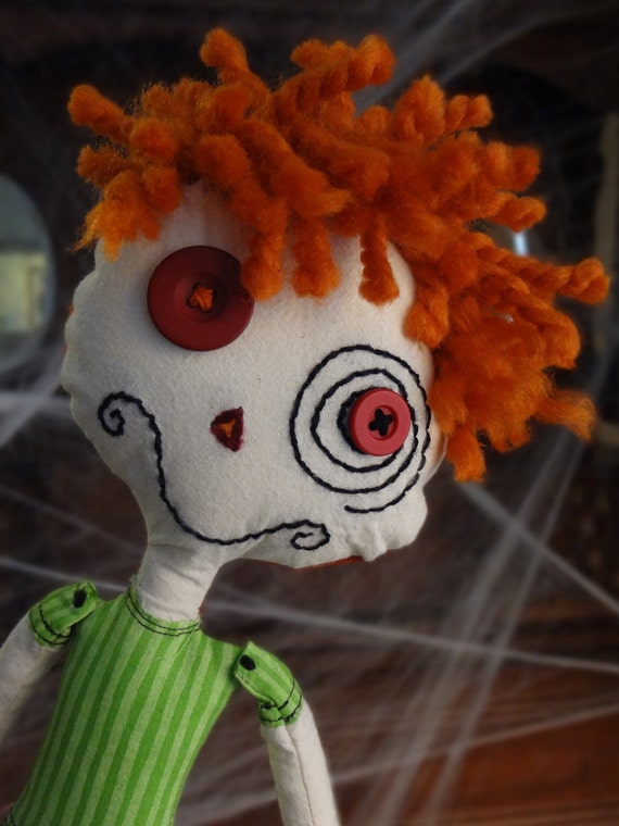 """Carrot Top Zen Zombie boy. Friendly 14"""" handmade plush doll needs a loving family. He enjoys outdoor activities and is washable."""