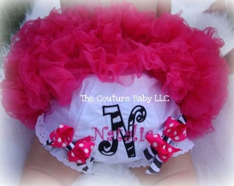 Zebra & Hot Pink Persna;ized Applique Diaper Cover Blommers Design Your Own  INFANT TODDLER NEWBORN