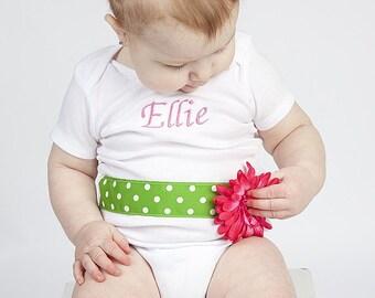 GERBER BABY Daisy Ribbon personalized Belt Onesie