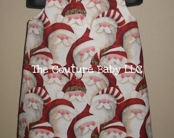 Santa Claus Leopard Boutique A Line Jumper Christmas Dress infant newborn toddler child