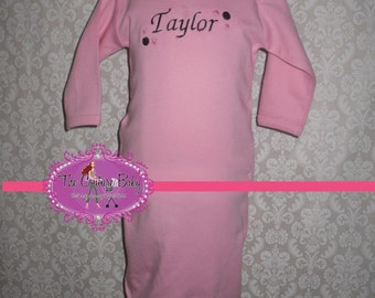 Pink and Brown Personalized Polka Dot Take Me Home Layette Gown & Hat 2 Pc. Set