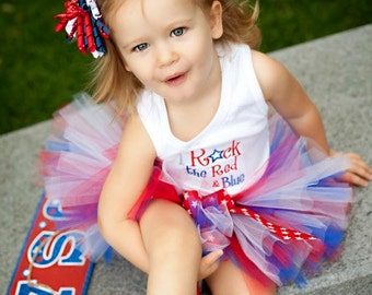 I Rock The Red White and Blue 4th of July Tank Top T-shirt or Onesie Star