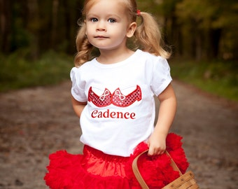 Dorothy Ruby Red Slippers Sparkly Girls T shirt or Onesie Personalized Halloween-Birthday