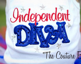 INDEPENDANT DIVA Red White and Blue Sparkle Patriotic 4th of July Tank Top T-shirt or Onesie Star