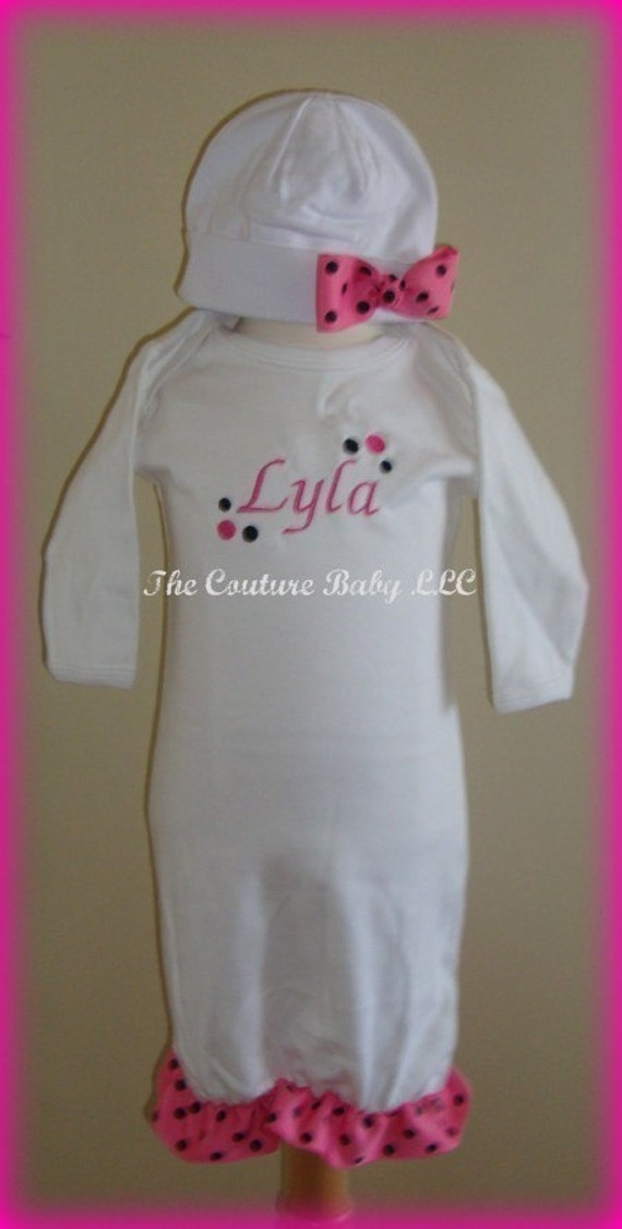 Hot pink and Black Ruffle Personalized Take me Home Layette Gown BOW HAT