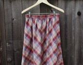 Vintage Red and Blue Plaid A-line Skirt, Size Medium