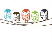 5x7 Owl Line Art Print