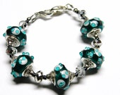 925 TEAL DOT Lampwork Interchangeable Medical ALert ID Bracelet works with Medical Alert Tag or Watch Face