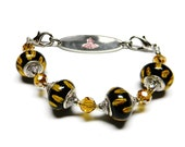 925 Lampwork YELLOW JACKETS Lampwork Interchangeable Medical ALert ID Bracelet works with Medical Alert Tag or Watch Face