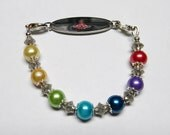 RAINBOW Colorful Interchangeable ID Bracelet made to wear with Medical Alert ID and Watch Face