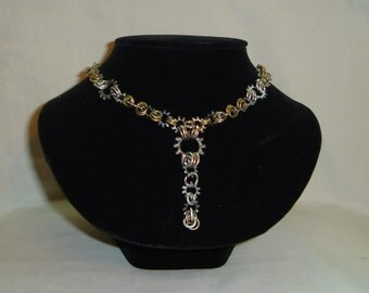 Chain Maille and lock washer necklace