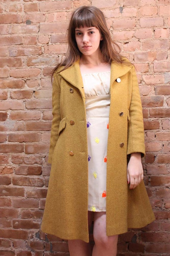 Vintage Mustard Coat- 60s Yellow Double Breasted Jacket, S/M