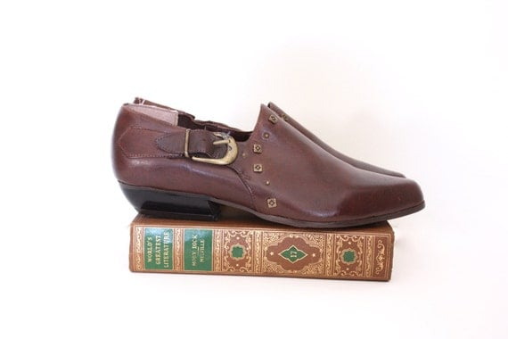 80s Brown Leather Southwest Ankle Boot - 7.5/8