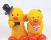 Ducks Couple Polymer Clay Figurines - Personalized Wedding Cake Topper - Ready To Ship