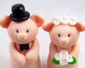 Pig Wedding Cake Topper, Chineze Sign, Personalized Figurines, Bride and Groom, Handmade Figurines, Cute Wedding Decoration