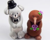 Koala Groom, Kiwi Bride, Wedding Cake Topper, Wedding Decoration, Personalized Figurine