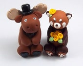 Wedding Cake Topper, Moose, Red Panda, Custom Cake Topper, Personalized Figurines