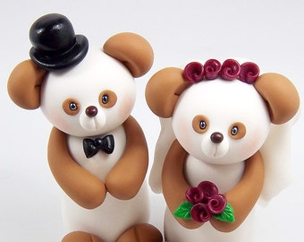Wedding Cake Topper, Panda Bear Couple, Unique Cake Topper, Animal Cake Topper