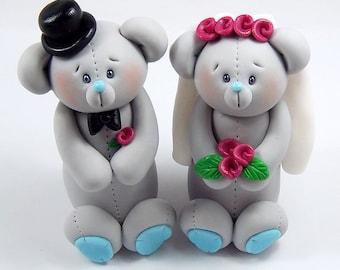 Wedding Cake Topper, Wedding Decoration, Clay Figurines, Teddy Bear Cake Topper