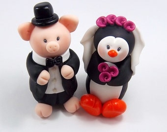 Wedding Cake Topper, Pig Figurine, Polymer Clay Penguin, Personalized Bride and Groom